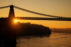 Menai Bridge. And the Straits at sunset Isle of Anglesey North Wales Royalty Free Stock Images