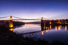 Menai Bridge. And the Straits at sunset Isle of Anglesey North Wales Royalty Free Stock Photos