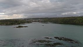 Menai bridge and the straits at sunset Isle of Anglesey North Wales stock video