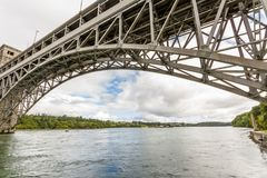 Menai Straits and the Britannia bridge from below. Underside of the Britannia Bridge, over the Menai Strait between Gwynedd and Anglesey. North Wales, United Royalty Free Stock Photo