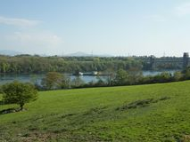 Menai straits and the landscape. The view of the Menai straits and the bridge Stock Photography
