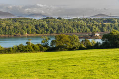 Menai Straits. Looking East across the Menai Straits to Snowdonia, from Anglesey, North Wales, United Kingdom Royalty Free Stock Images