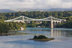 Menai Suspension Bridge. With North Wales in the Background Stock Images