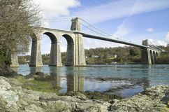 Menai suspension bridge royalty free stock photos