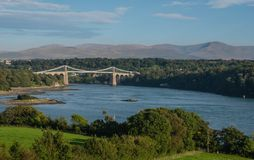 Menai Suspension Bridge, Anglesey, Wales Royalty Free Stock Image