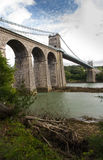 Menai Suspension Bridge, from Anglesey West Side. Royalty Free Stock Photography