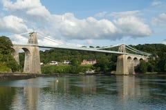 Menai zawieszenia most. obrazy stock