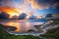Menakoz cove at sunset Stock Images