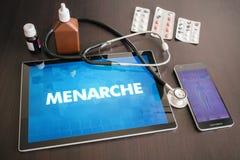 Menarche (menstruele verwante cyclus) medisch concept op tabletscr royalty-vrije stock foto's