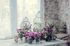 Menchia i purpura kwitniemy blisko okno Obrazy Stock