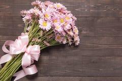 Menchia kwiaty są na drewnianym tle z faborkiem Obraz Royalty Free
