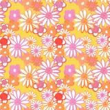 Menchie, czerwień i pomarańczowy kwiecisty bezszwowy wzór, Artystyczny rocznika wzór z stokrotka kwiatami w 60s i 70s projektujem ilustracja wektor