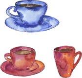Menchie i błękitne herbaciane filiżanki Wręczają patroszoną akwareli ilustrację fotografia royalty free