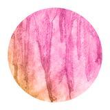Menchie i pomarańczowa ręka rysująca akwareli kurenda obramiają tło teksturę z plamami zdjęcia stock
