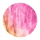 Menchie i pomarańczowa ręka rysująca akwareli kurenda obramiają tło teksturę z plamami zdjęcie stock