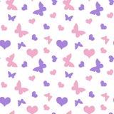 Menchie, purpurowe serca i motyli walentynki ` s dzień deseniują morze Zdjęcie Stock