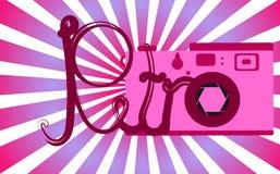 Menchie retro, stary, rocznik, antyk, modniś kamera z piękną retro inskrypcją na tle purpurowi promienie ilustracji