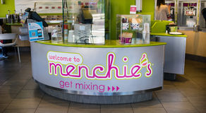 Menchies frozen yogurt counter Royalty Free Stock Photo