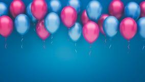Menchii i błękita balonów tło Obrazy Stock