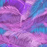 Menchii i fiołków liści drzewko palmowe na ciemnym tle Piękny bezszwowy tropikalny kwiecisty deseniowy tło wektor obrazy royalty free