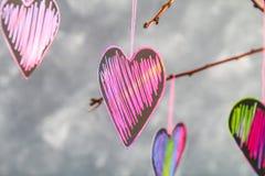 Menchii serca wieszają na gałąź na szarość betonu tle odosobnionego loga miłości przedmiota znaka drzewny warianta wektor Pojęcie Fotografia Royalty Free