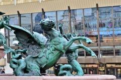 Mende Fountain a Augustusplatz in Lipsia Fotografia Stock
