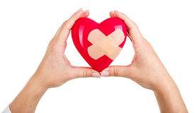 Mended heart in hands Royalty Free Stock Photo