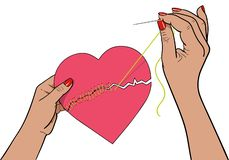 Mended heart vector illustration royalty free illustration