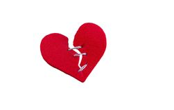 Mended heart on white Royalty Free Stock Image