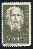 Mendeleev. POLAND - CIRCA 1959: stamp printed by Poland, shows Dmitri I. Mendeleev, circa 1959 Stock Image
