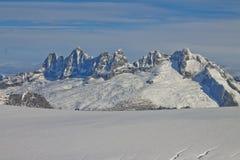 Mendenhall冰川山脉 免版税库存照片