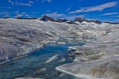 Mendenhall冰川水流量 免版税图库摄影