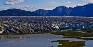 Mendenhall glaciär fryst landskap 3 Arkivbild