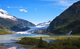 Mendenhall glaciär med klumpnedgångar Arkivbilder