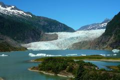 Mendenhall Glacier. View from Park of Mendenhall Glacier near Juneau, Alaska royalty free stock image