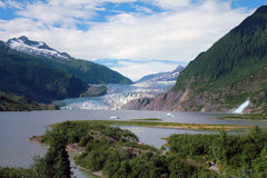 Mendenhall Glacier and Falls. In Juneau, Alaska Royalty Free Stock Image