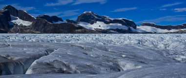 Mendenhall glacier frozen landscape. Mendenhall Glacier is a glacier about 13.6 miles long located in Mendenhall Valley, about 12 miles from downtown Juneau in Royalty Free Stock Photography