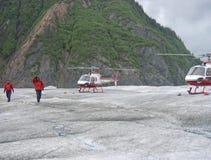 Mendenhall Glacier, Juneau, Alaska. Helicopters land on the Mendenhall Glacier, Juneau Alaska Royalty Free Stock Image