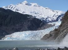 Mendenhall Glacier at Juneau Alaska. Icy Mendenhall Glacier near Juneau Alaska royalty free stock images