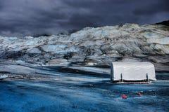 Mendenhall Glacier. A shelter atop Mendenhall Glacier Royalty Free Stock Image