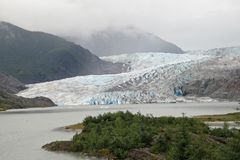 Mendenhall Glacier and Valley, Alaska. Mendenhall Glacier and Valley, Alaska, photographed from the Visitor Center on an overcast summer day stock photos