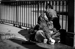 Mendiant à Madrid photo stock
