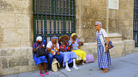 Mendicancy in Cuba.Cuban women. Royalty Free Stock Photo