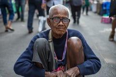 Mendicante dell'uomo anziano Fotografia Stock Libera da Diritti