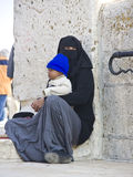 Mendicante femminile sul supporto del tempiale, Gerusalemme Fotografia Stock