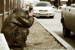Mendicante senza casa povero. Fotografia Stock