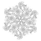 Mendie Mandala with butterflies, flowers and leaves. Zenart inspired. Royalty Free Stock Photography
