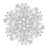 Mendie Mandala with butterflies on the meadow. Stock Photos