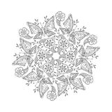 Mendie Mandala with butterflies on meadow. Vector illustration Stock Photography