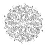 Mendie Mandala with flowers and leaves isolated. Stock Image